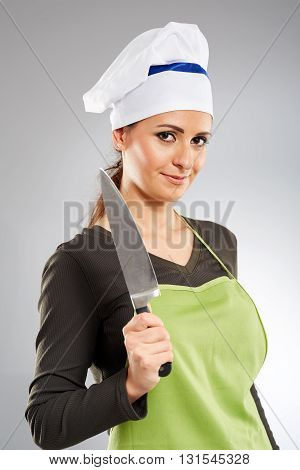 Woman Cook With A Knife