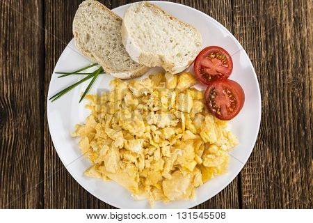 Plate With Scrambled Eggs (close-up Shot)