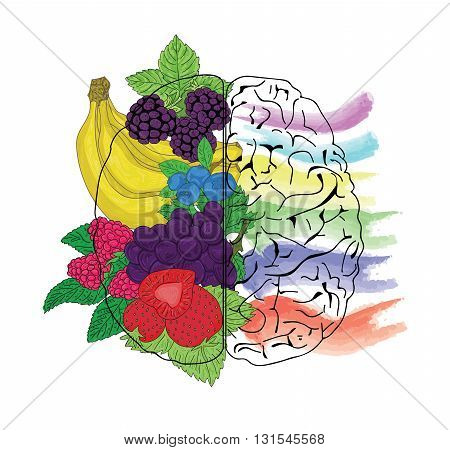 Concept of fruit helpful for healthy brain.