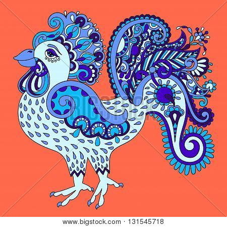 original retro cartoon chicken drawing, symbol of 2017 new year of the blue rooster in karakoko style, vector illustration