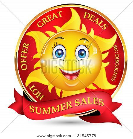 Summer sales offer with a cartooned sun. Hot offer, Great deals, Big discounts. Print colors used