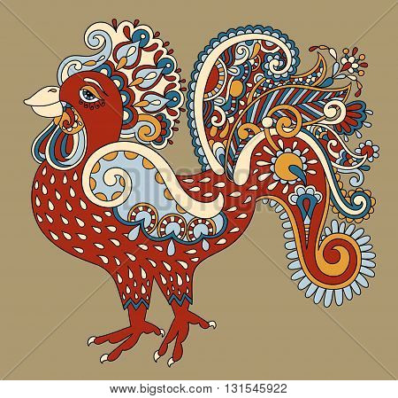 original retro cartoon chicken drawing, symbol of 2017 new year of the rooster, vector illustration