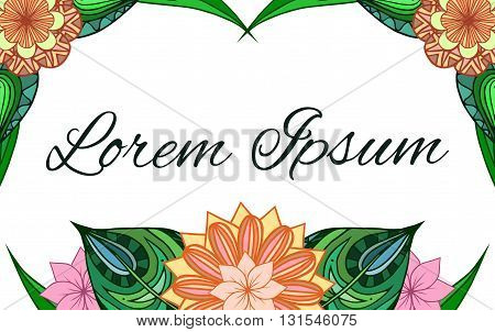 Rectangular frame with doodle leaves and flowers. Vector element for invitations greeting cards cards and your design