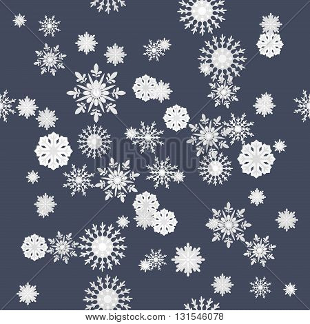 Winter snowflakes seamless texture pattern on blue background