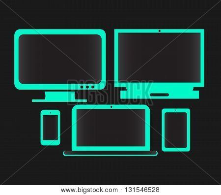 digital devices neon color with black background