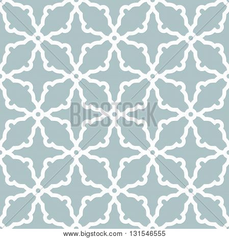 Geometric ornament with fine elements. Seamless light blue and white pattern for wallpapers and backgrounds