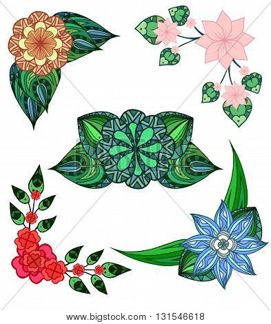 Set of angular design elements doodle flowers and leaves. Vector elements for invitations greeting cards and your design ideas