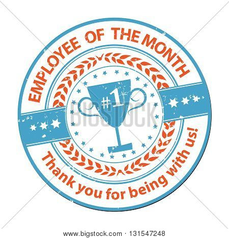 Employee of the month - grunge printable label / badge. Print colors used