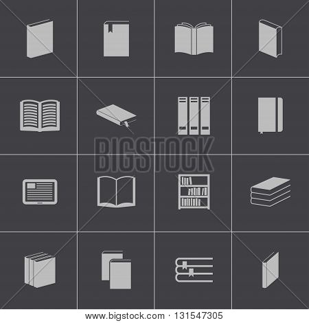 Vector black book icons set on grey background