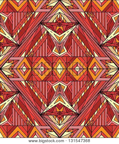 Abstract ethnic pattern in red tones. Vector background for your creativity