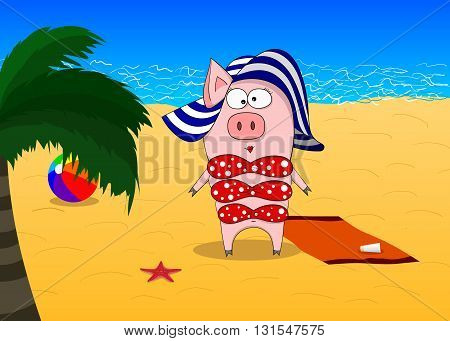 Pig in swimsuit and hat at the sea