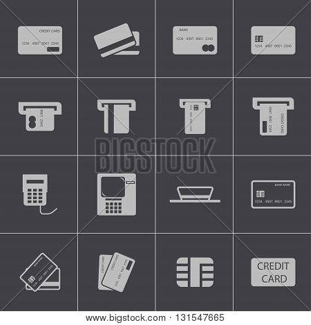 Vector black credit cart icons set on grey background