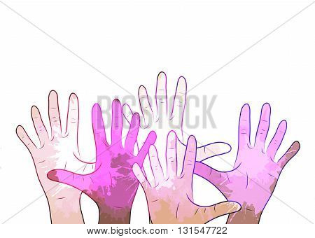 Variety of human hands with watercolor splashes. Vector element for your creativity