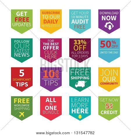 Common Site Ad Vector Bookmarks Set In Flat Style