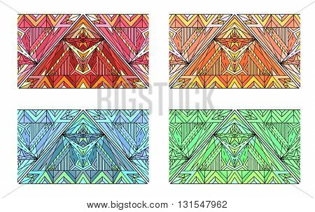 Set of multicolored seamless ethnic borders. Vector elements for your design