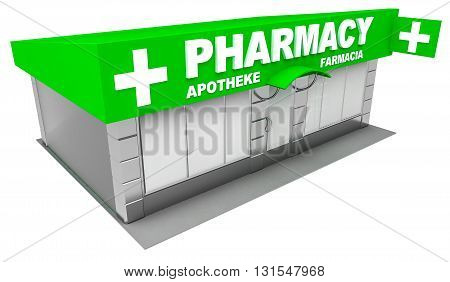 3D Illustration of pharmacy store isolated on white background