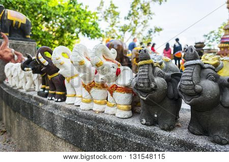 Elephant Sculpture To Worship In The Temple Or The Place For Worship , Thai Style.