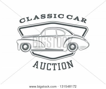 Vintage, classic car label, car auction badge template. Vintage car auction. Classic second hand car sale. Vector illustration.
