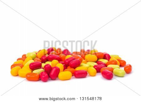 chocolate Colourfull candies isolated on white background