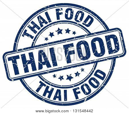 Thai Food Blue Grunge Round Vintage Rubber Stamp.thai Food Stamp.thai Food Round Stamp.thai Food Gru