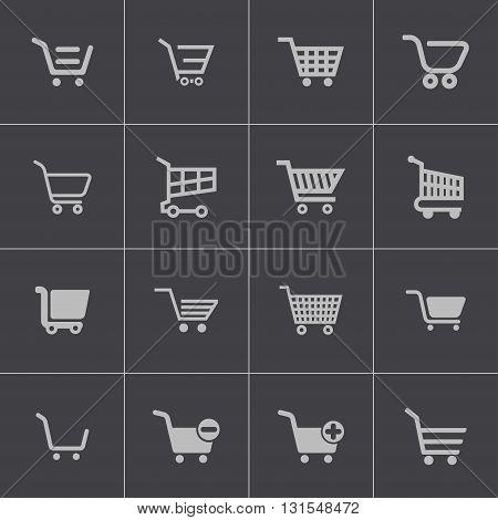 Vector black shopping cart icons set on grey background