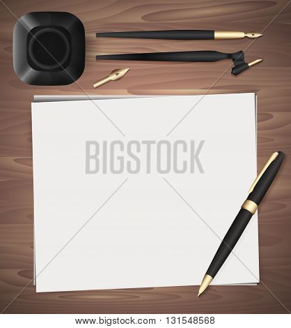 Set of stationery on wooden background. Vector elements separately from the background to your presentation design projects and your creativity