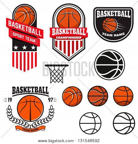 Set of basketball labels and logos and design elements for basketball teams tournaments championships isolated on white background. Design element in vector.