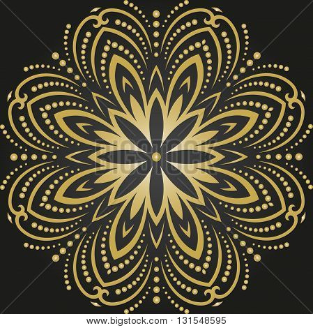 Round pattern with arabesques and floral elements. Traditional classic golden ornament