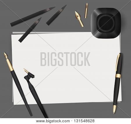Set of stationery on a gray background. Vector elements separately from the background to your presentation design projects and your creativity