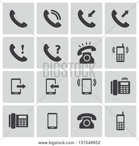 Vector Black Telephone Icons Set on white background