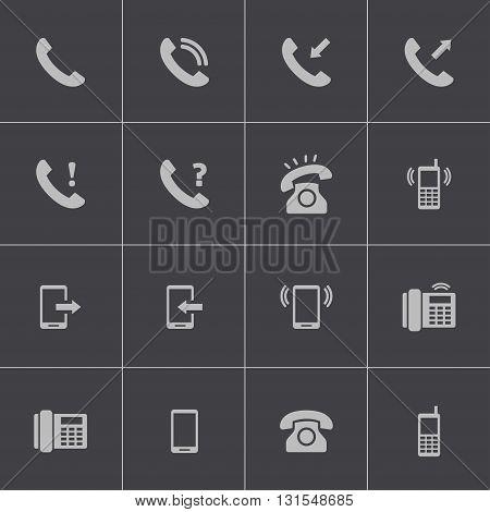 Vector black telephone icons set on grey background