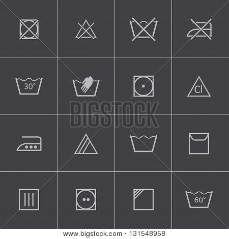 Vector black washing icons set on grey background