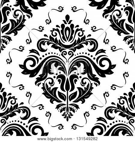 Damask seamless black and white ornament. Traditional pattern. Classic oriental background