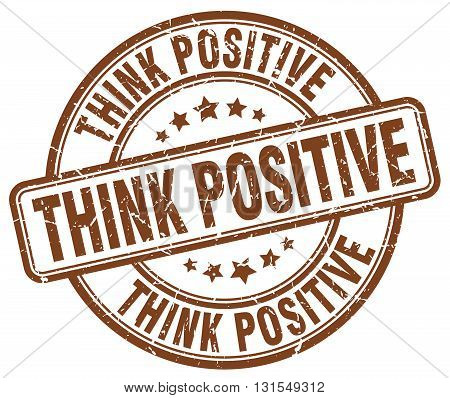 Think Positive Brown Grunge Round Vintage Rubber Stamp.think Positive Stamp.think Positive Round Sta