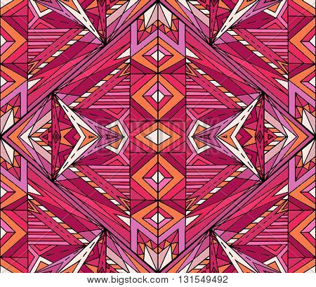 Abstract ethnic pattern in pink tones. Vector background for your creativity