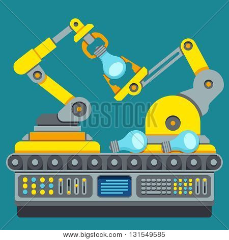 Robotic production line. Manufacturing machine vector concept. Industrial process equipment or factory technology production vector illustration