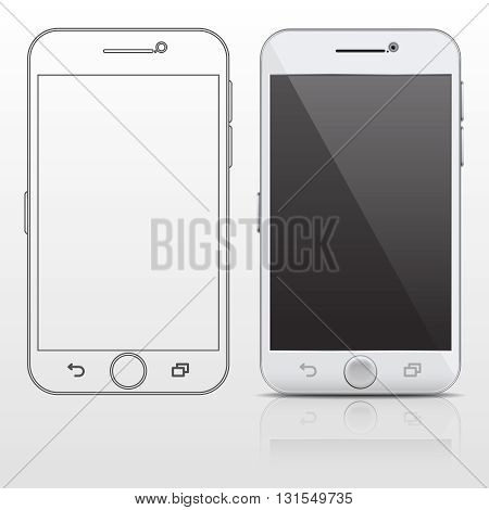 Outline and realistic smartphone, cell phone vector design template in thin line style. Screen gadget phone and digital smart phone portable illustration