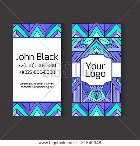 Template two-sided business card with ethno pattern for your design