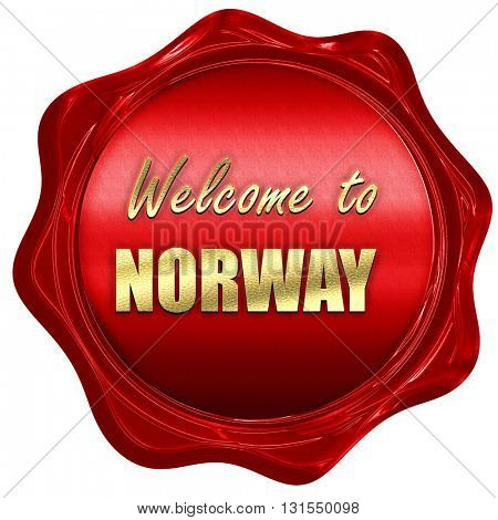 Welcome to norway, 3D rendering, a red wax seal