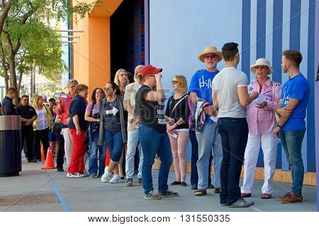 San Jose CA - May 26 2016: Unidentified participants waiting to enter Parkside Hall for the Hillary Clinton political rally in San Jose California.