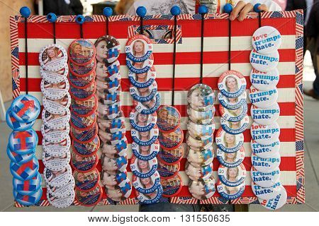 San Jose CA - May 26 2016: Promotional pins sold at the Hillary Clinton Political Rally held at Parkside Hall in San Jose California.