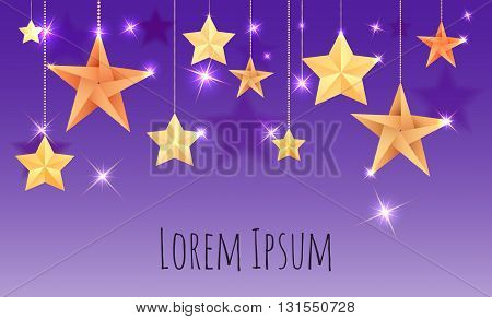 Postcard with origami stars sparks and place for text for your design