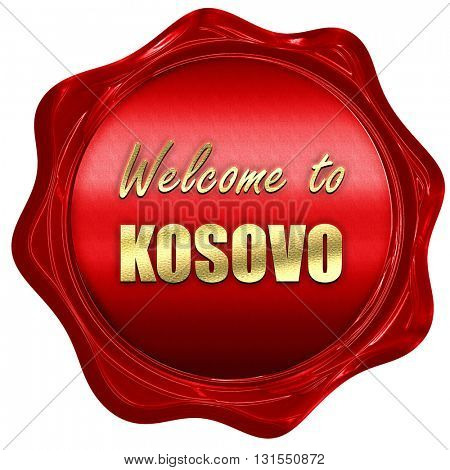Welcome to kosovo, 3D rendering, a red wax seal