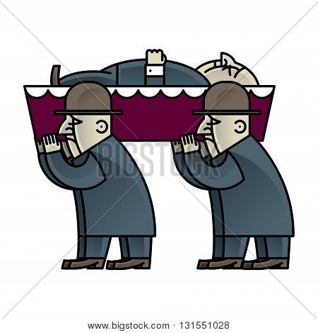 Funeral procession - deadman in coffin and pallbearers