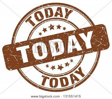 Today Brown Grunge Round Vintage Rubber Stamp.today Stamp.today Round Stamp.today Grunge Stamp.today