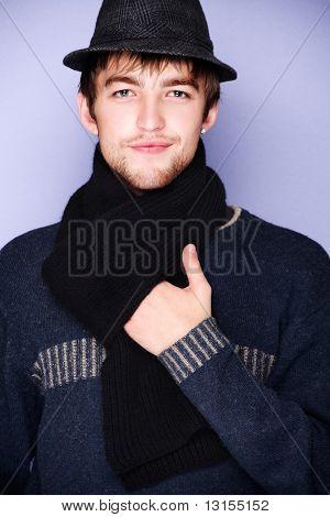 Portrait of a modern stylish male model.