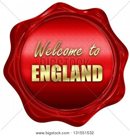 Welcome to england, 3D rendering, a red wax seal