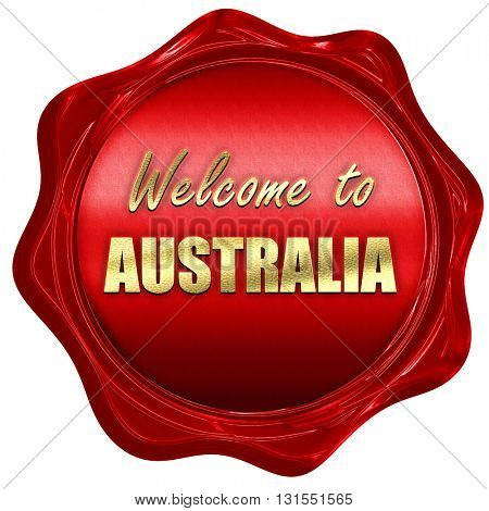 Welcome to australia, 3D rendering, a red wax seal