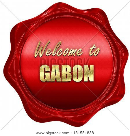 Welcome to gabon, 3D rendering, a red wax seal