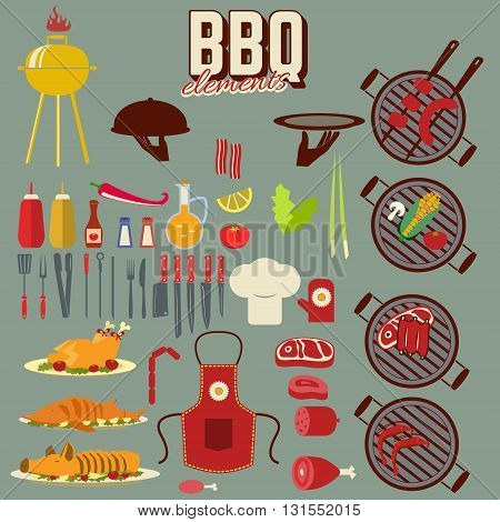 Set of the cooking objects. Bbq and grill cooking elements. Design elements in vector.